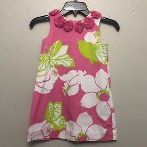 Girls Lilly Pulitzer pink & green flower  dress